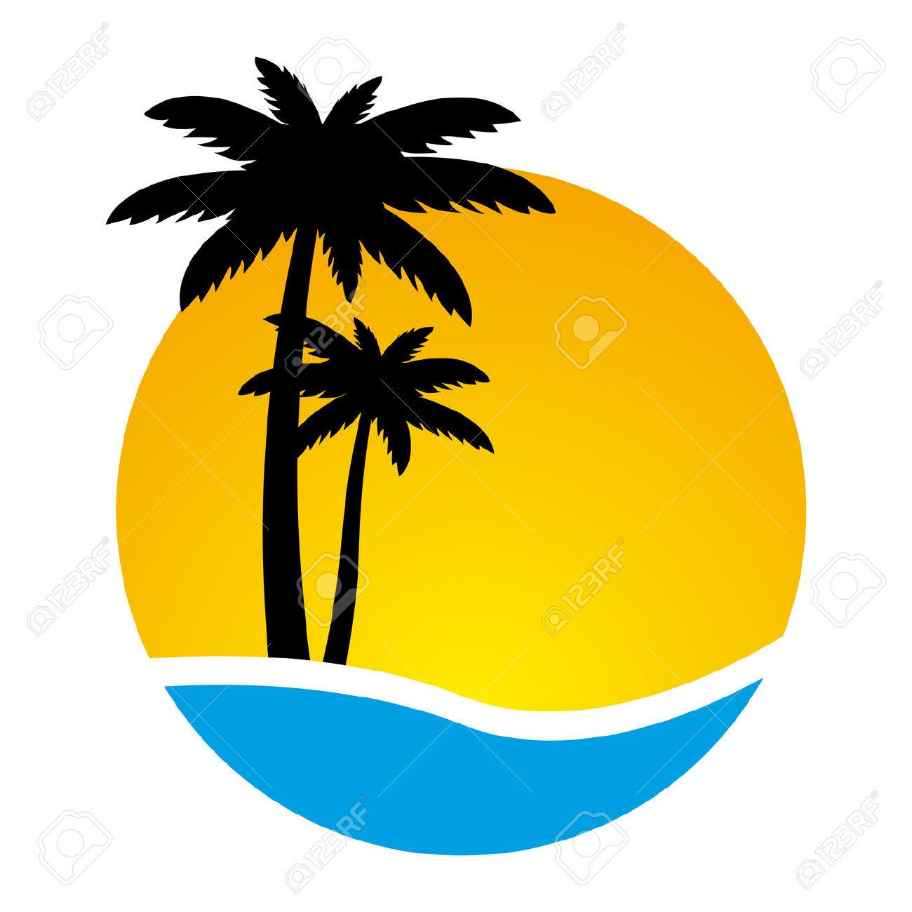 1300x1300 Palm Tree , Sunset And Palm Trees On Island Decals, Clipart, Etc