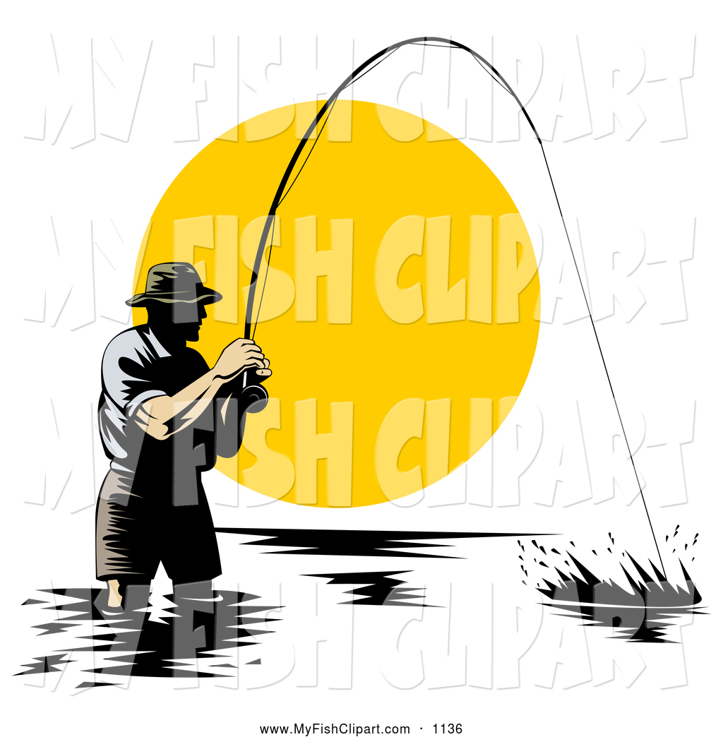 1024x1044 Clip Art Of A Wading Fisherman Reeling In A Fish