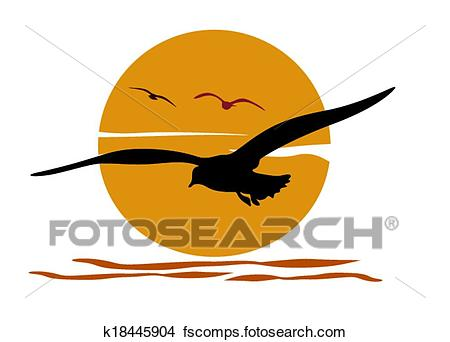 450x342 Clipart Of Silhouette Of Seagull On Sea Sunset K18445904