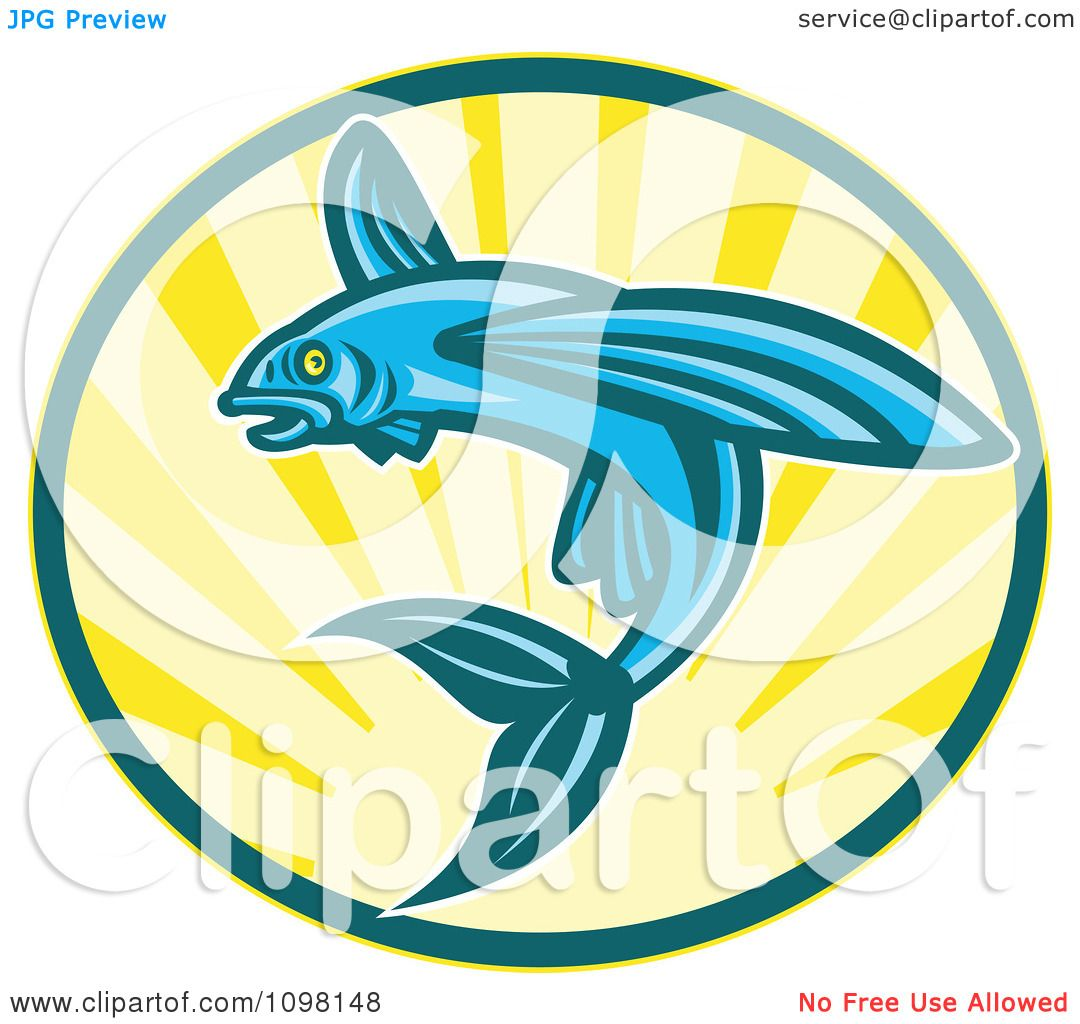 1080x1024 Clipart Blue Retro Woodcut Flying Fish Jumping Over Sunshine