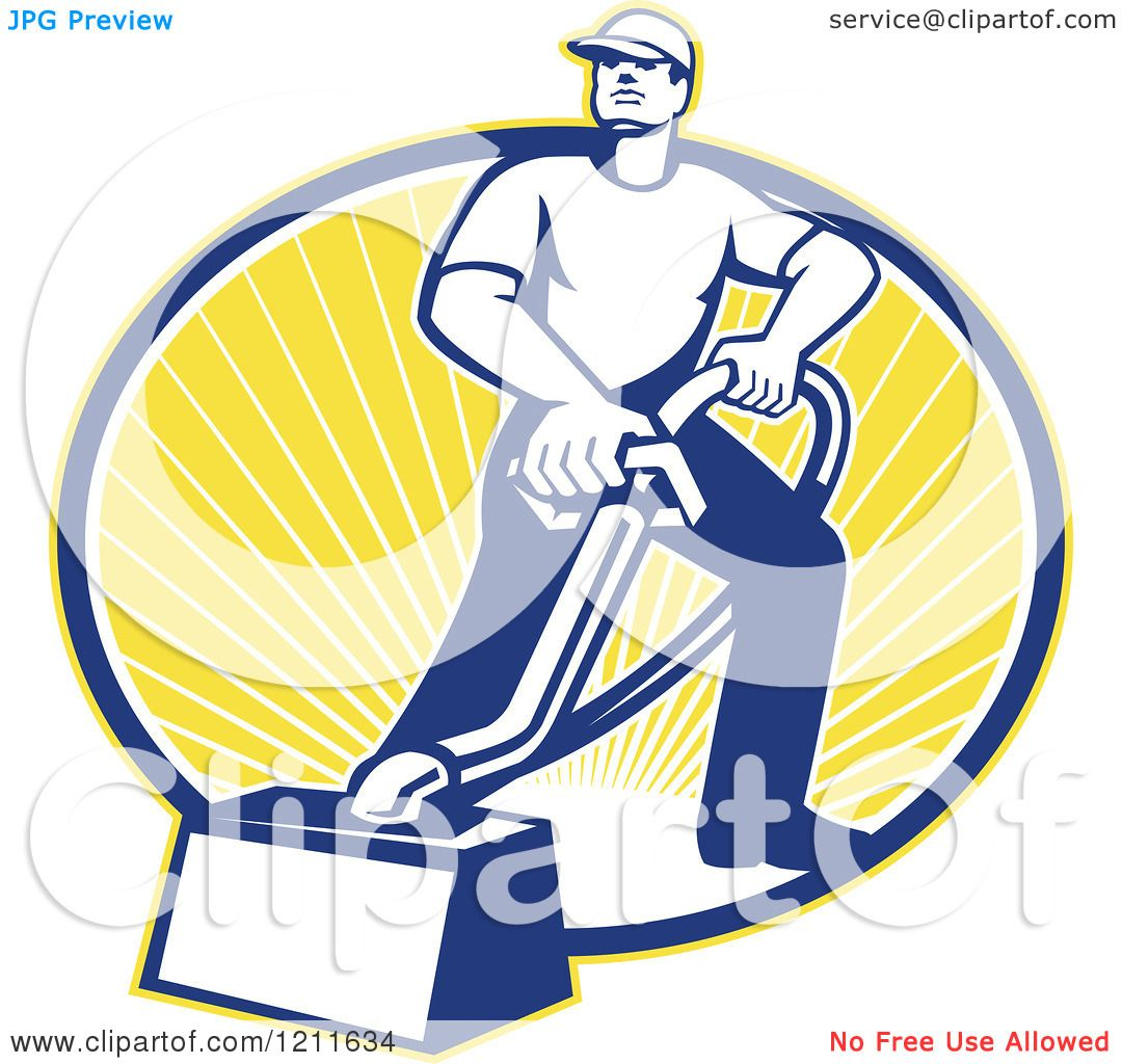 1080x1024 Clipart Of A Retro Carpet Cleaner Man With A Vacuum Over An Oval