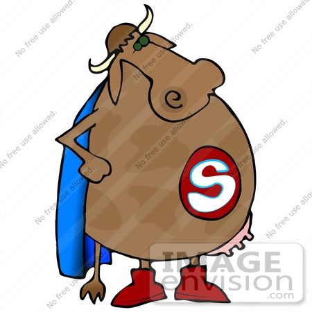 450x450 Clip Art Graphic Of A Super Hero Cow Wearing A Blue Cape