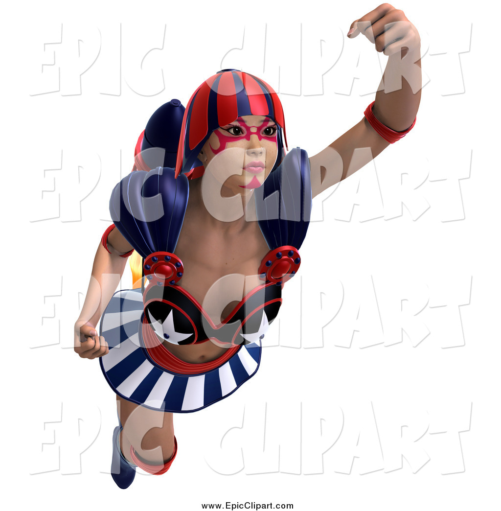 1024x1044 Vector Clip Art Of A 3d White Super Woman Flying With A Jet Pack