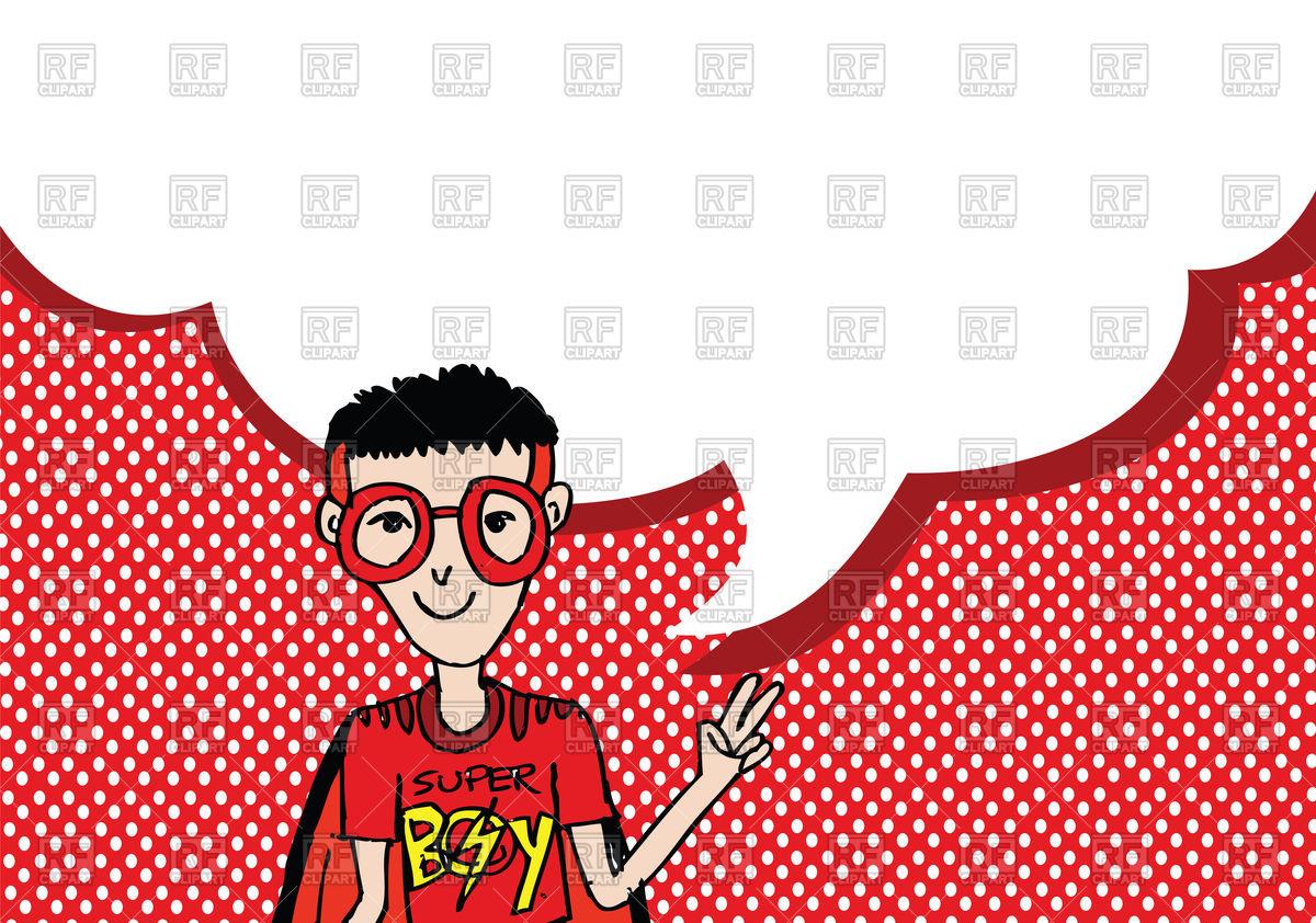 1200x842 Boy In Superhero Costume With Dialog Speech Bubbles On Polka