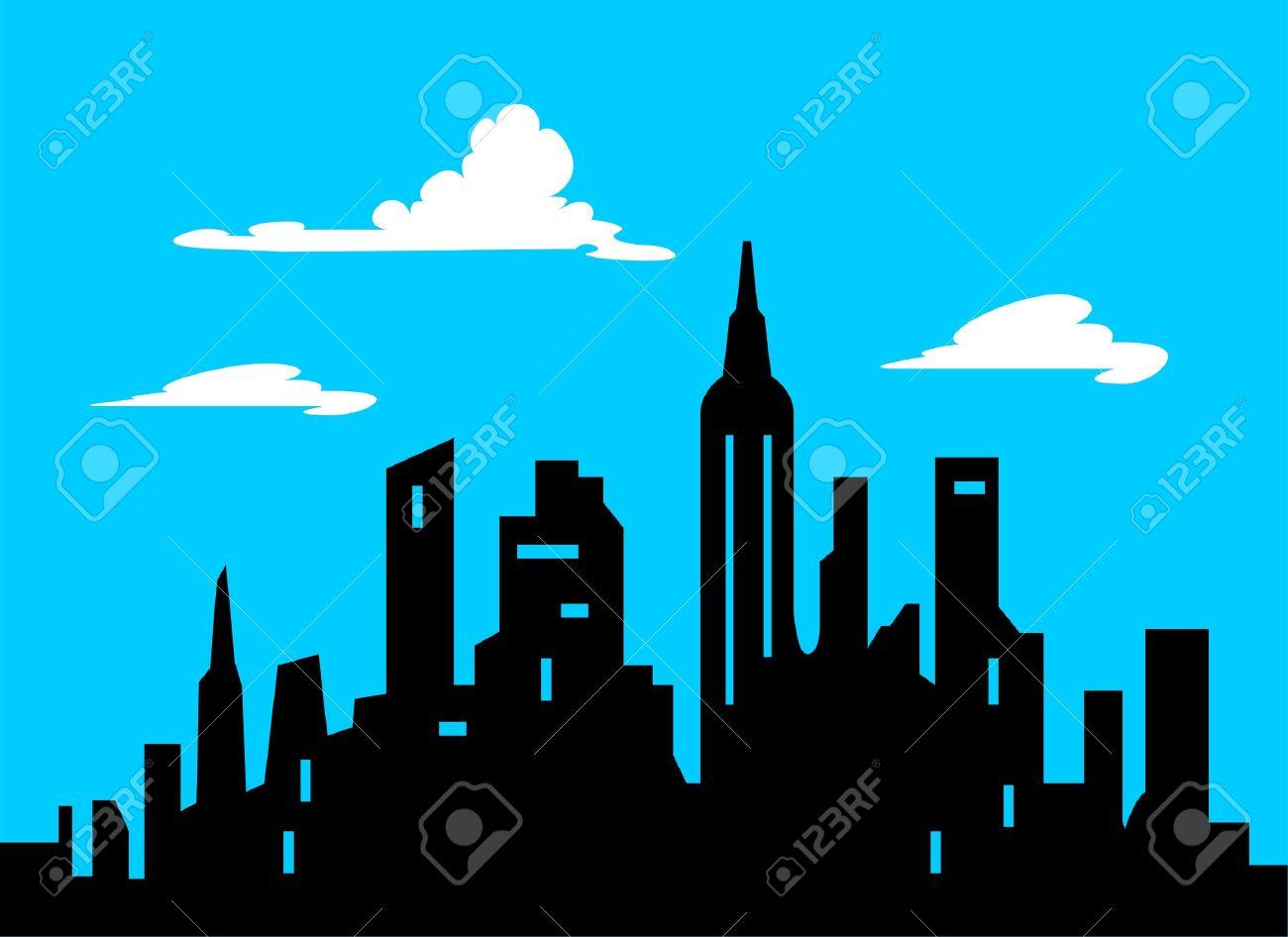 1300x946 Graphic Style Cartoon City Skyline Illustration Royalty Free