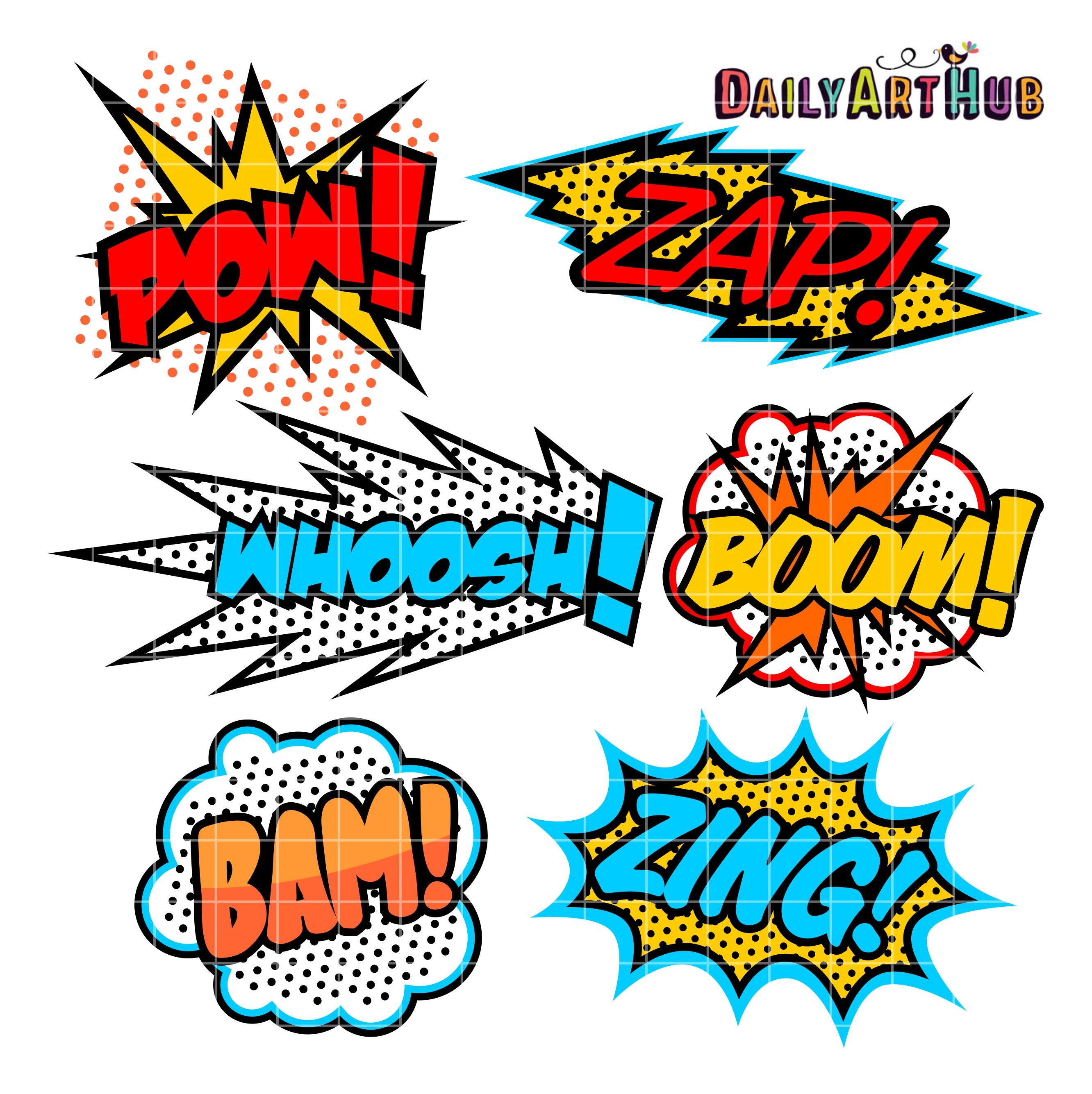 2664x2670 Superhero Callout Clip Art Set Daily Art Hub