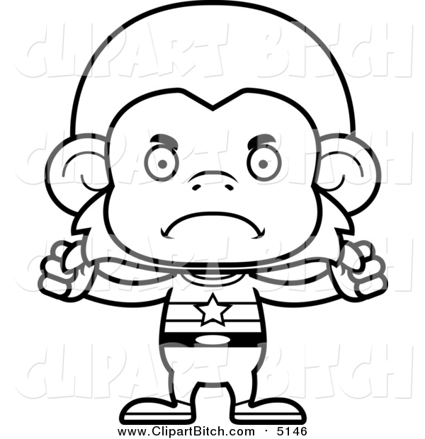 600x620 Clip Vector Cartoon Art Of A Bw Mad Monkey Super Hero By Cory