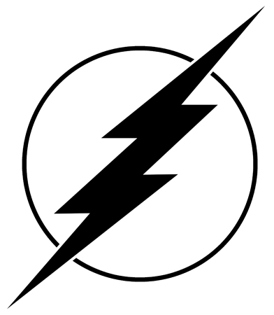 392x450 Flash Superhero Logo Black And White