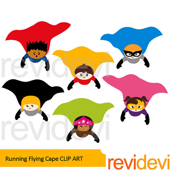 570x570 SUperhero clipart sale Superhero flying cape clip art