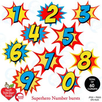 350x350 Superhero Clipart Numbers Clipart, Bursts, Numbers Vectors, AMB