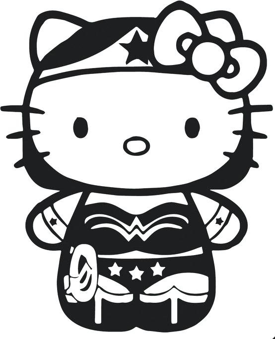 554x683 Superheroes Clipart Wonder Woman Hello Kitty Coloring Sheet