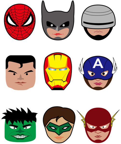 503x600 Cartoon Superheroes Head Portrait Vector Free Vector In Adobe