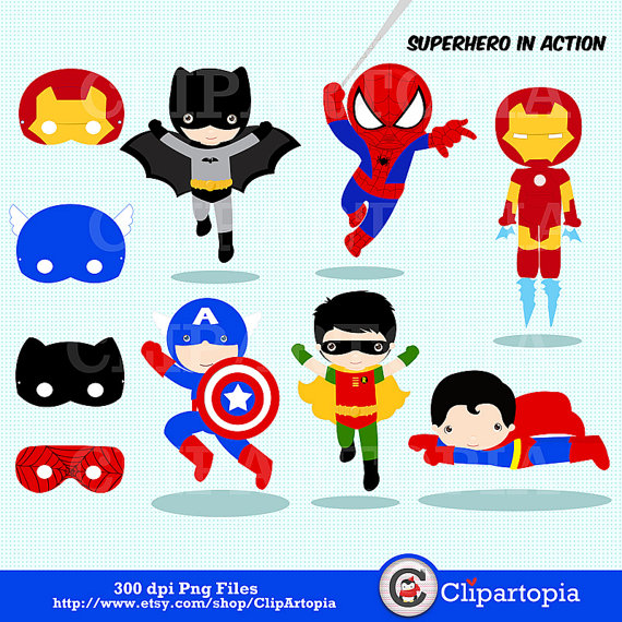 570x570 Superhero In Action Digital Clipart Super Hero Clipart