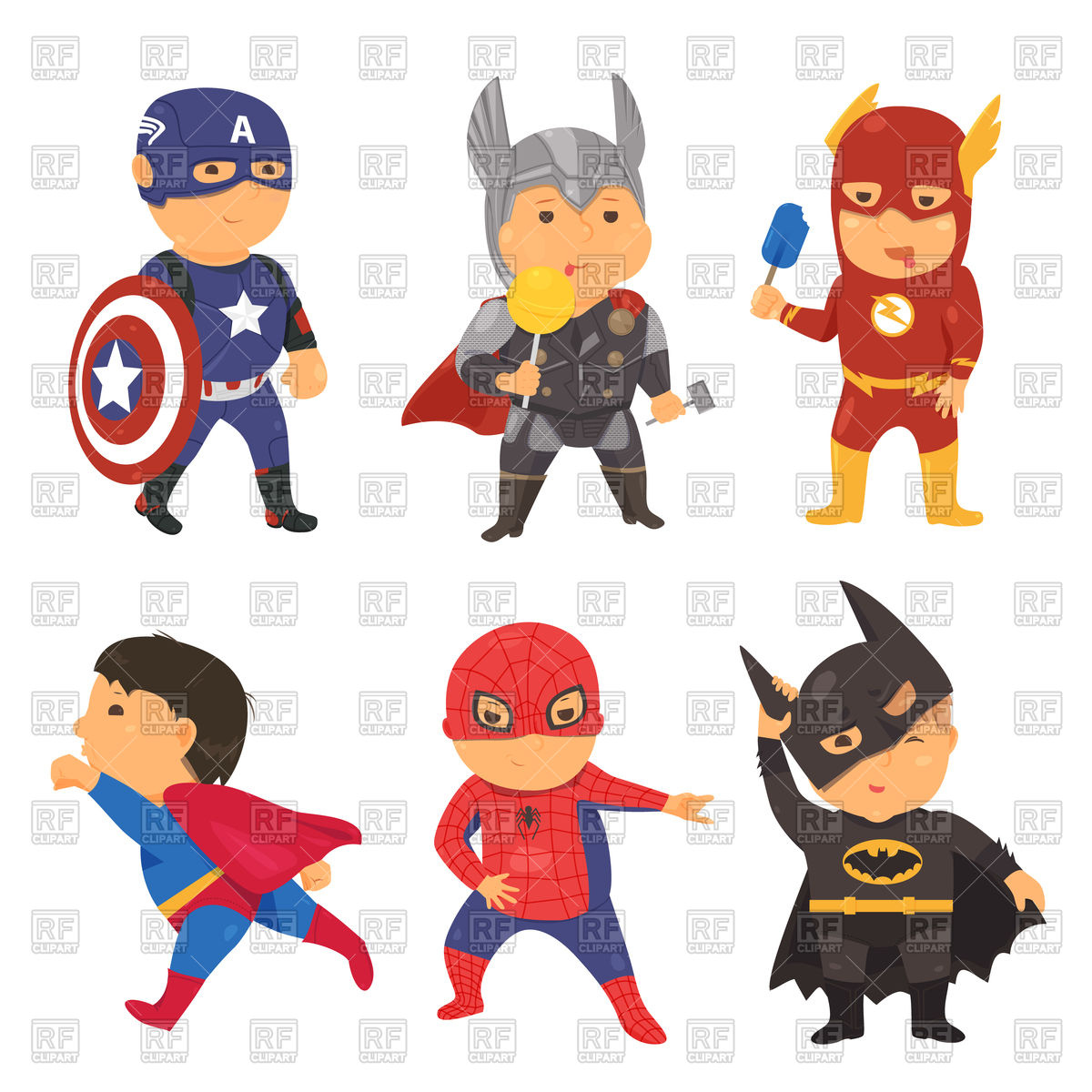 1200x1200 Cartoon Superhero Costume Kids Royalty Free Vector Clip Art Image