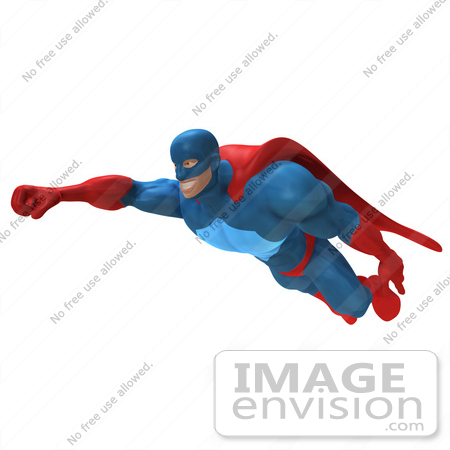 450x450 Royalty Free (RF) Illustration Of A 3d Powerful Superhero Flying