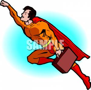 300x297 Superhero Flying Away with a Briefcase Clip Art Image