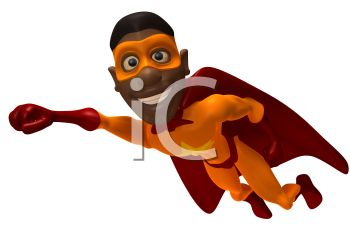 350x238 African American 3D Superhero Flying
