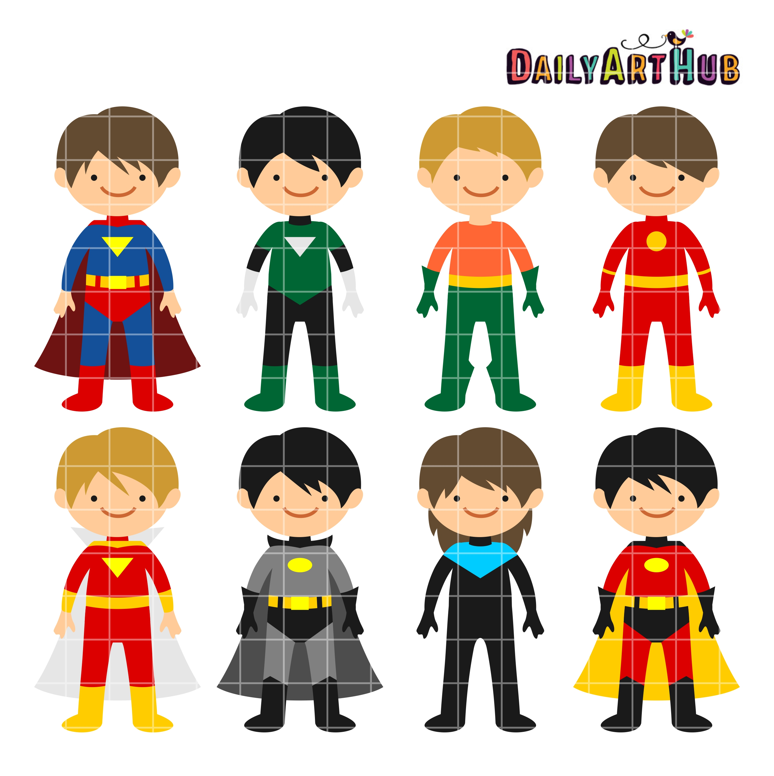 2664x2670 Superhero Boys Clip Art Set Daily Art Hub