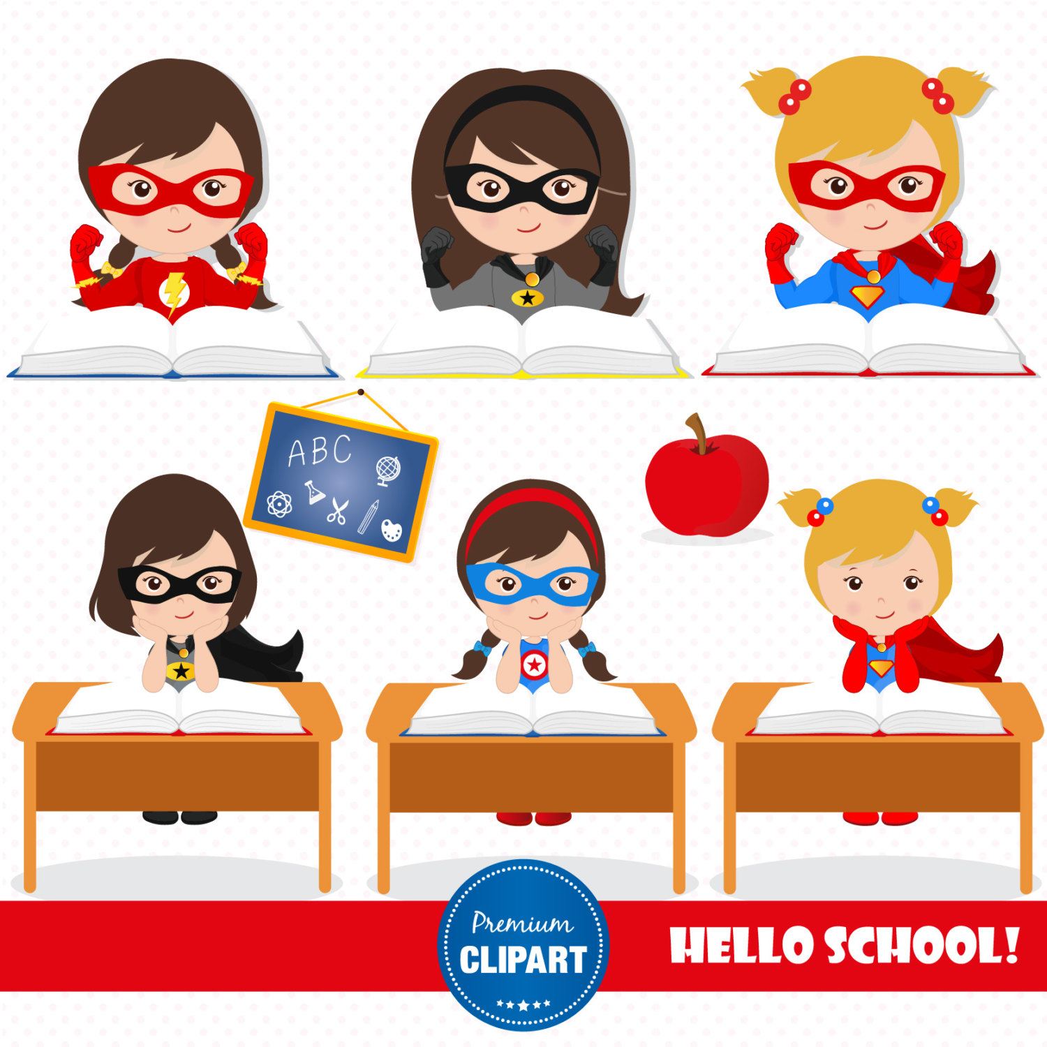 1500x1500 Superhero clipart, Back to school clipart, Girl clipart, Superhero