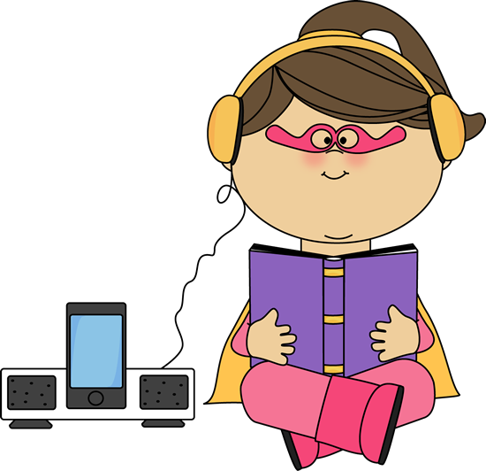 550x532 Superhero Girl Listening to a Book Clip Art
