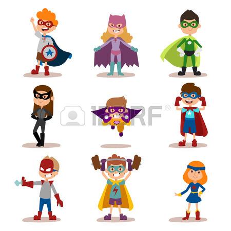 450x450 Superhero Kids Boys And Girls Cartoon Vector Illustration. Super