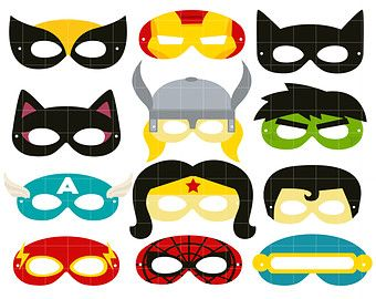 340x270 Superheroes Party Mask Digital Clip Art For Scrapbooking Card