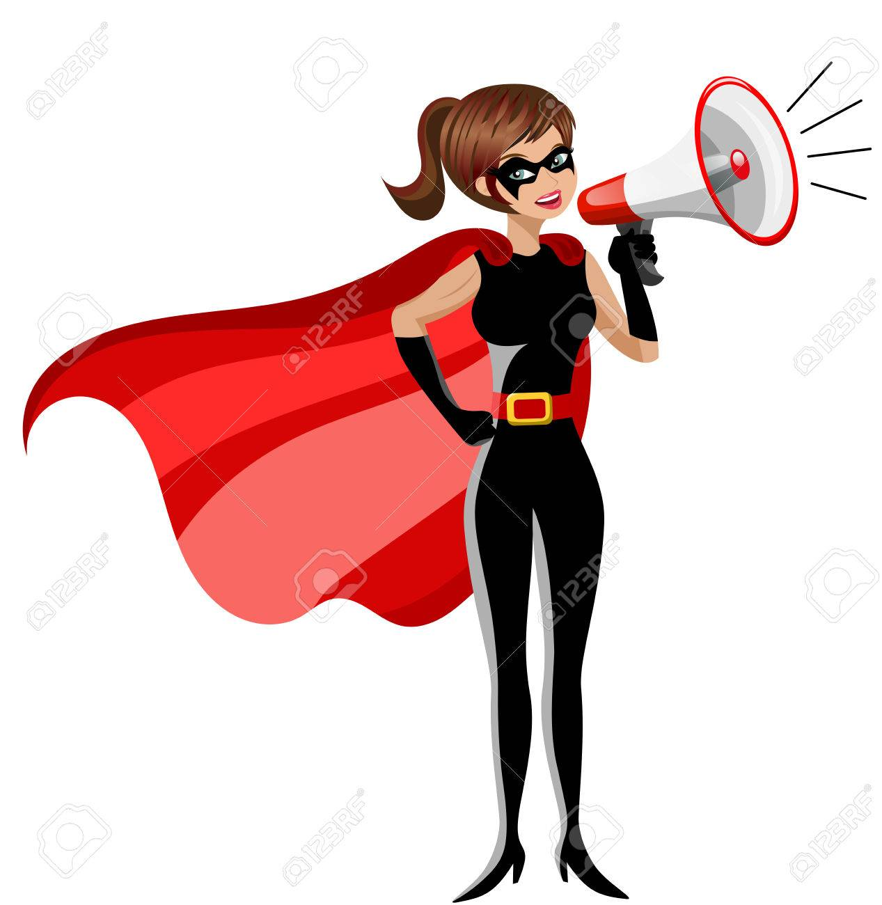 1267x1300 Superhero Woman Standing And Speaking With Megaphone Isolated