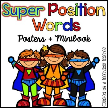 350x350 Position Words Posters + Minibook (Superhero Theme) By A Teachable