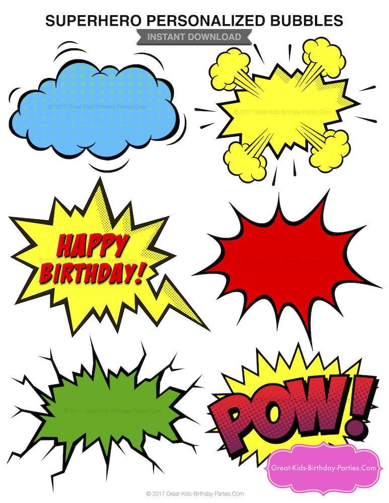 773x1000 Superhero Word Bubbles Superhero Clipart Superhero