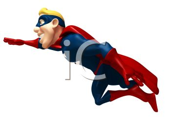 350x247 Royalty Free Clip Art Image 3d Superhero Flying Off To Fight Crime
