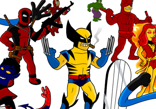 500x350 Mashup 50 Marvel Super Heroes As Simpson's Characters