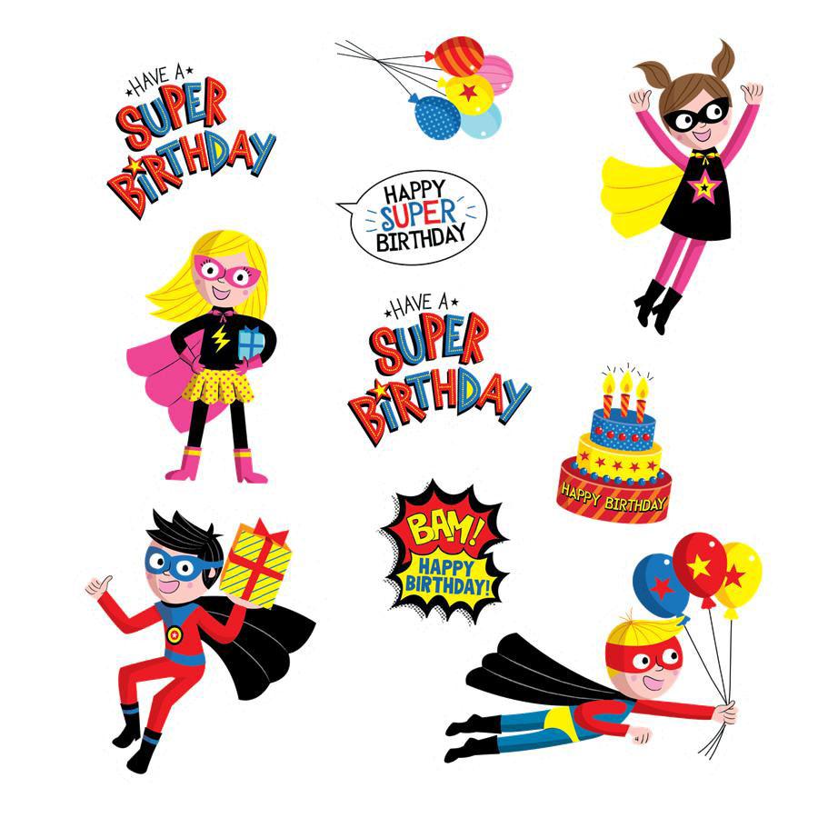 900x900 Superheroes Birthday Stickers