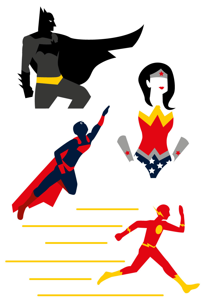 864x1296 Superheroes Vector Batman Wonder Woman Flash Free Graphic