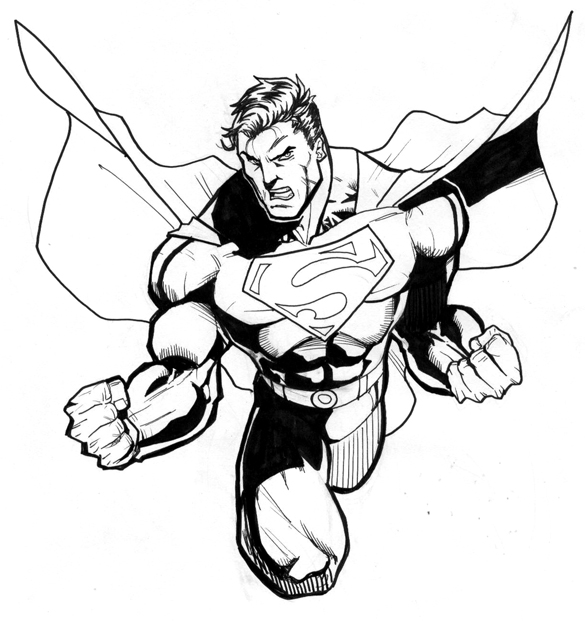585x621 Laufuhr Test Images Black And White Superman Drawing