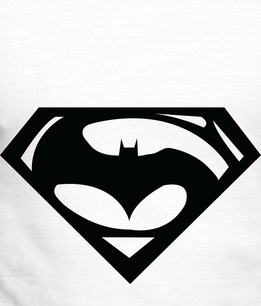 850x995 Adro White Batman Amp Superman Logo Printed Cotton T Shirt