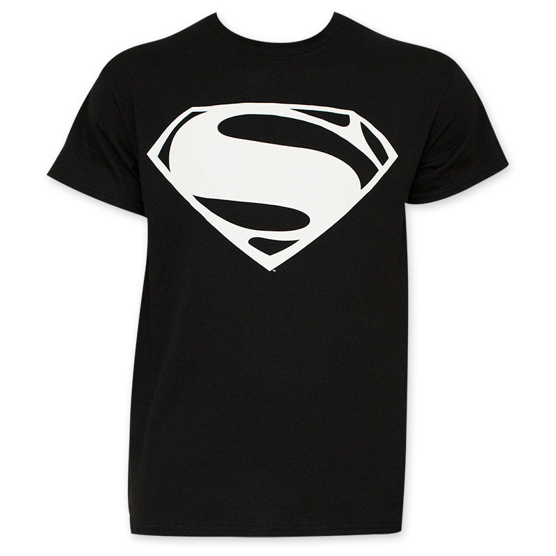 800x800 Batman V Superman Men's Black And White Superman Logo T Shirt