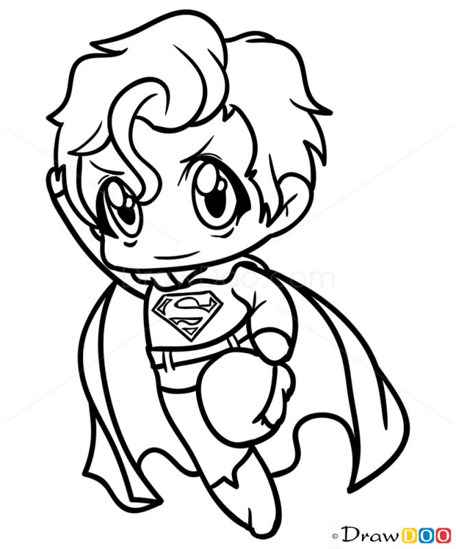 665x801 How To Draw Superman, Chibi Drawdoo Chibi, Kawaii