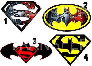 300x217 Superman Spiderman Batman Logo Iron On T Shirt Fabric Transfer