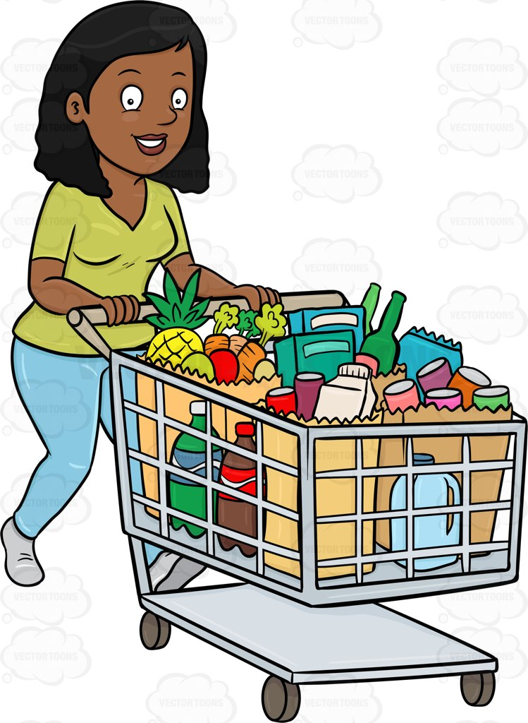 749x1024 A Black Woman Smiles After Checking Out Of A Supermarket With Her