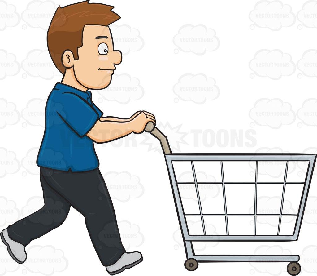 1024x890 A Man Pushing A Shopping Cart Inside The Supermarket Cartoon