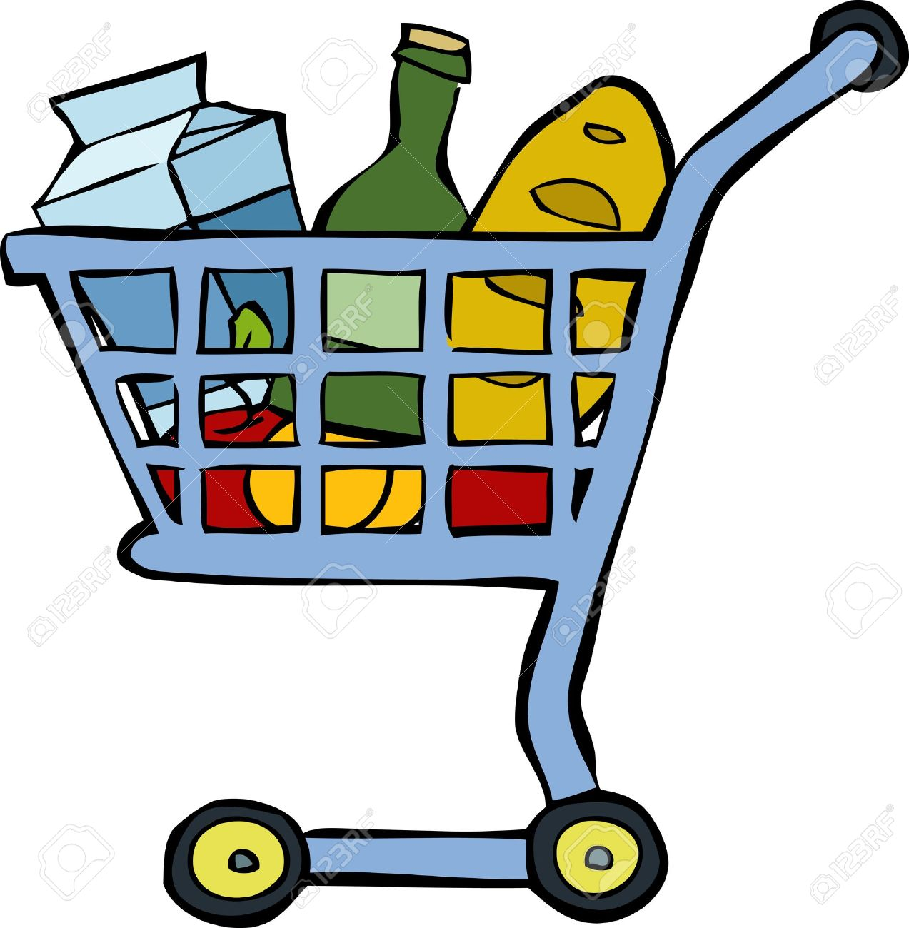 Full Grocery Cart Clipart Supermarket Cli...