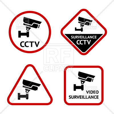 400x400 Video Surveillance Simple Labels Royalty Free Vector Clip Art