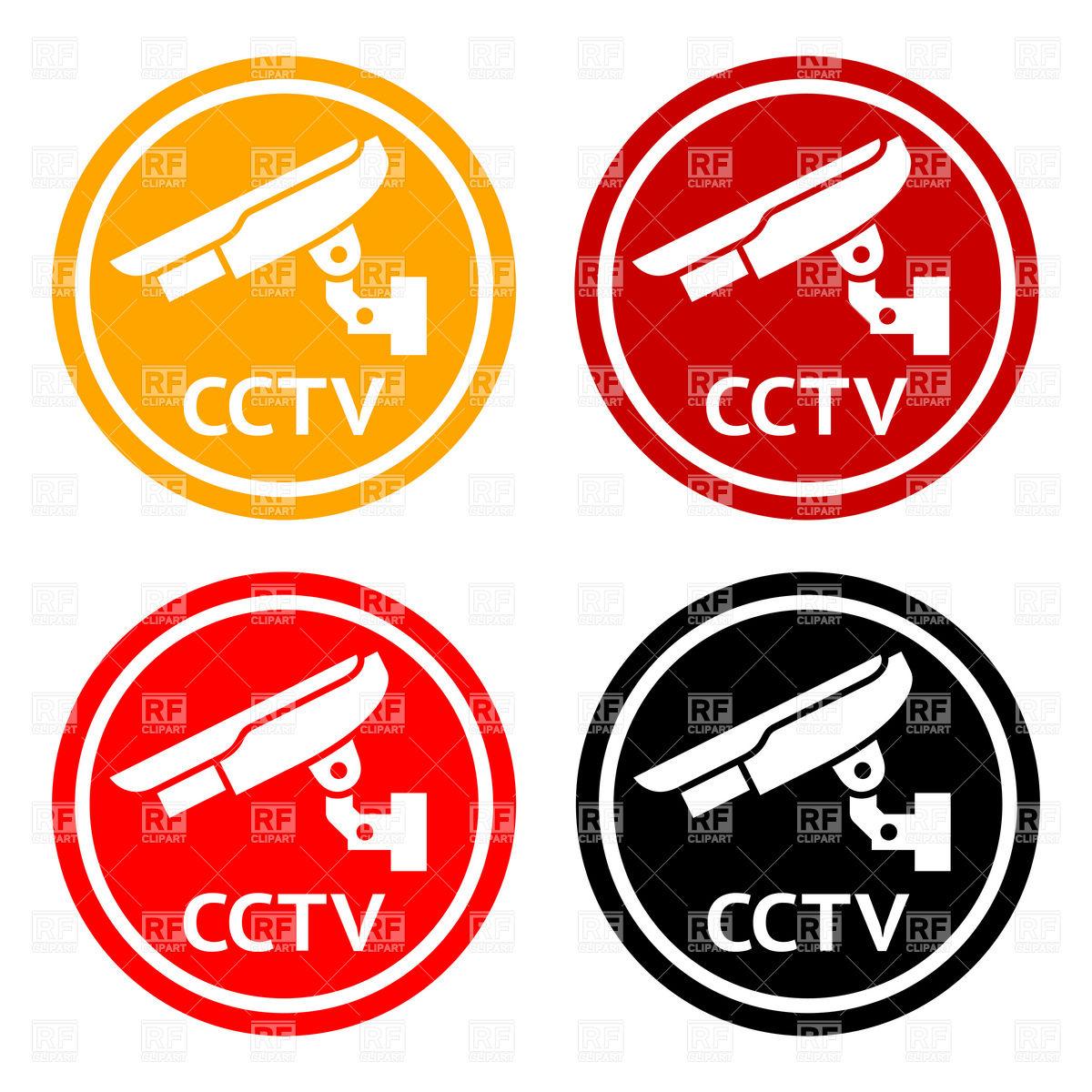 1200x1200 Warning Round Sticker For Cctv
