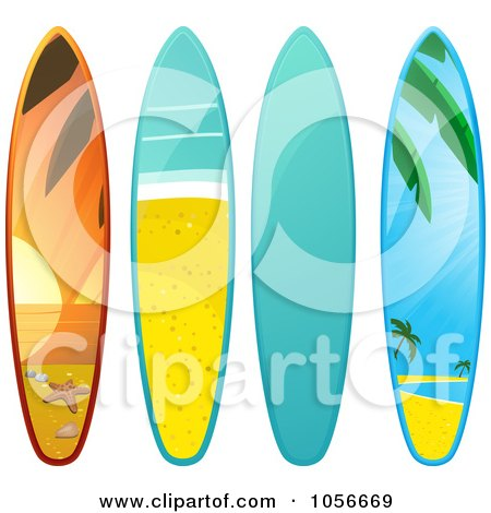 450x470 Royalty Free Vector Clip Art Illustration Of Two Beach Surfboards
