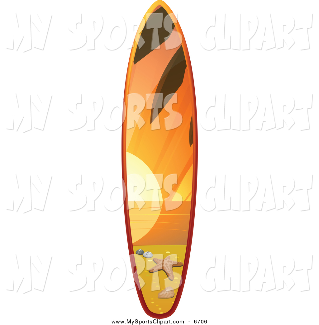 1024x1044 Sports Clip Art Of A 3d Surfboard With A Sunset Beach Scene By