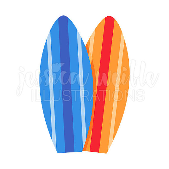 570x570 Blue And Orange Surfboards Cute Digital Clipart, Surfboards Clip