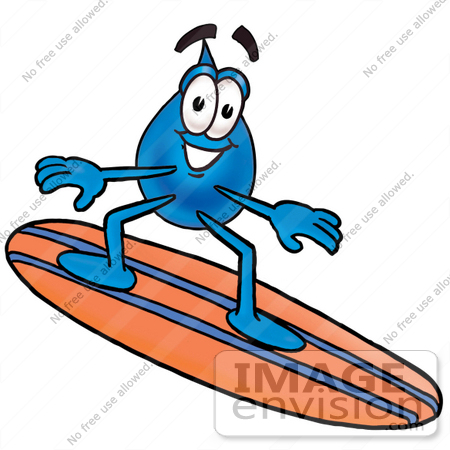 450x450 Clip Art Graphic Of A Blue Waterdrop Or Tear Character Surfing