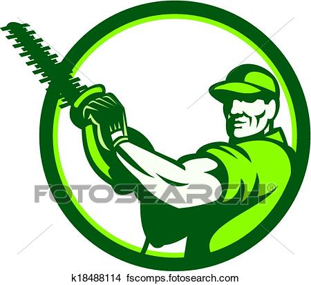 450x413 Clipart Of Tree Surgeon Holding Hedge Trimmer Retro K18488114