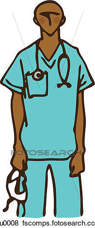 196x470 Stock Illustration Of Surgeon In Blue Medical Scrubs Holding