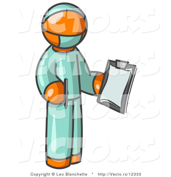 600x620 Vector Of Orange Surgeon Guy In Green Scrubs, Holding A Clipboard